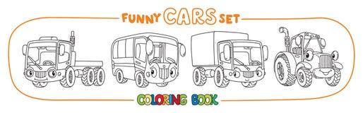 Carros pequenos engraçados com olhos Grupo do livro para colorir Fotos de Stock