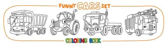 Carros pequenos engraçados com olhos Grupo do livro para colorir ilustração royalty free
