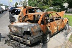 Carros queimados Foto de Stock