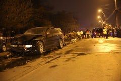 Carros queimados no acidente Imagens de Stock Royalty Free