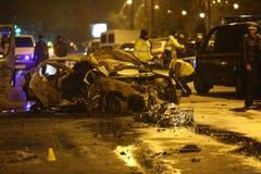 Carros queimados no acidente Imagem de Stock