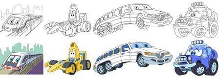 Carros rápidos dos desenhos animados ajustados ilustração royalty free