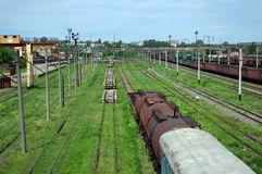 Carros railway velhos Fotos de Stock Royalty Free