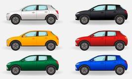 Carros realísticos em um fundo branco Grupo de seis veículos diferentes das cores ilustração stock