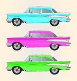 Carros retros da cor diferente ajustados Foto de Stock
