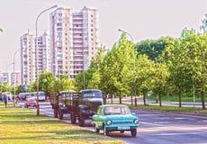 Carros soviéticos velhos em Vilnius Fotos de Stock Royalty Free