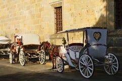 Carros traídos por caballo en Guadalajara, México fotos de archivo libres de regalías