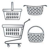 Carros y cestas de compras Foto de archivo libre de regalías