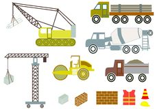 Carros y equipo de la construcción Imagen de archivo