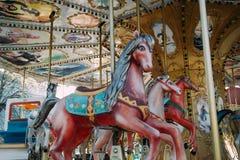 Carrossel com os cavalos em Luna Park fotos de stock royalty free