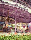 Carrossel cor-de-rosa do vintage no festival do carnaval Imagem de Stock Royalty Free