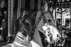 Carrossel do carrossel na madeira com animais de exploração agrícola fotografia de stock royalty free