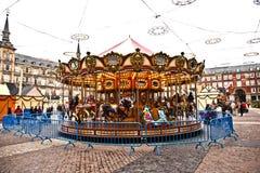 Carrossel na plaza de Prefeito no Madri Fotos de Stock Royalty Free