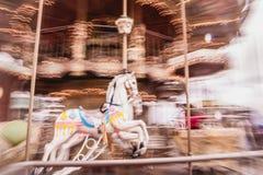 Carrossel velho do vintage no parque de Tibidabo em Barcelona Fotos de Stock