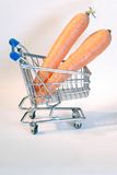 Carrot. Shopping cart with two carrots Royalty Free Stock Image