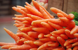 Carrot. Stack of carrots on market Stock Photos