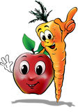 Carrot and Apple. Happy healthy carrot and apple Royalty Free Stock Image