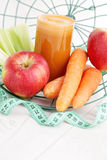 Carrot and apple juice Royalty Free Stock Images