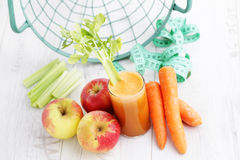 Carrot and apple juice Stock Image