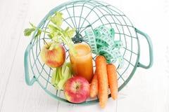 Carrot and apple juice Stock Photos