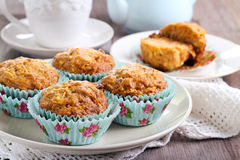 Carrot and apple muffins Stock Photos