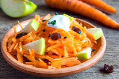 Carrot and apple salad with raisin Royalty Free Stock Image