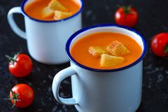 Carrot apple Tomato vegan Soup Royalty Free Stock Photos