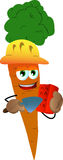 Carrot as bricklayer with brick and trowel Stock Photo