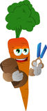 Carrot as tailor with scissors Stock Photo