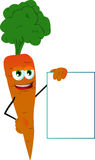 Carrot with blank board Stock Images