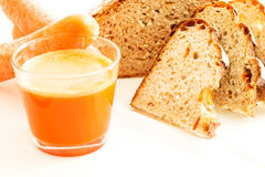 Carrot bread with carrot juice and carrots Royalty Free Stock Image