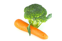 Carrot and Broccoli Stock Photography
