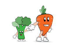 Carrot and broccoli. Carrot hold little broccolis hand Royalty Free Stock Images