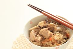 Japanese winter food, chicken and Maitake mushroom rice. Carrot and broth for homemade comfort food image stock photography