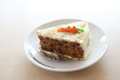 Carrot cake, Dessert. Carrot cake on a plate royalty free stock photos