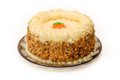 Carrot Cake. A whole delicious Carrot Cake on white royalty free stock image