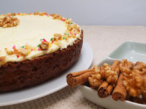 Carrot Cake. With cinnamon and walnut Stock Image