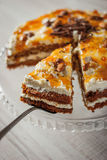 Carrot cake with almonds and chocolate chips vertical Royalty Free Stock Photography