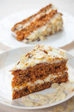 Carrot cake with almonds Royalty Free Stock Photos