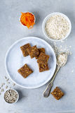 Carrot cake bars. Healthy sugar and gluten free carrot cake bars royalty free stock images
