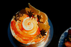 Carrot cake . Bright,juicy and unusual cake. Juicy and incredibly nutty A layer of caramel sponge cake successfully Stock Photos