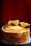 Carrot cake . Bright,juicy and unusual cake. Juicy and incredibly nutty A layer of caramel sponge cake successfully Stock Photo