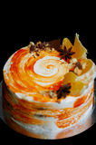 Carrot cake . Bright,juicy and unusual cake. Juicy and incredibly nutty A layer of caramel sponge cake successfully Royalty Free Stock Photography