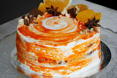 Carrot cake . Bright,juicy and unusual cake. Juicy and incredibly nutty A layer of caramel sponge cake successfully Royalty Free Stock Photo