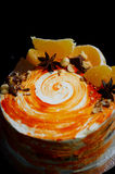 Carrot cake . Bright,juicy and unusual cake. Juicy and incredibly nutty A layer of caramel sponge cake successfully Royalty Free Stock Photos