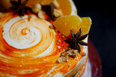 Carrot cake . Bright,juicy and unusual cake. Juicy and incredibly nutty A layer of caramel sponge cake successfully Stock Photography