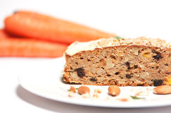 Carrot cake with carrots and almonds Stock Photography