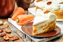Carrot cake cheesecake with pecan Royalty Free Stock Image