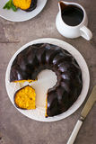 Carrot cake with chocolate glaze Royalty Free Stock Photo