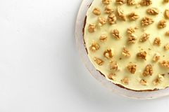 The Carrot cake. Close up of carrot cake on white stone background with copy space. Healthy homemade baking. Top view, flat lay stock images